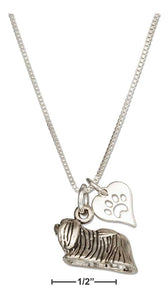 "Sterling Silver 18"" Pekingese Dog Pendant Necklace with Paw Print Heart"