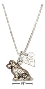 "Sterling Silver 18"" Newfoundland Dog Pendant Necklace with Paw Print Heart"