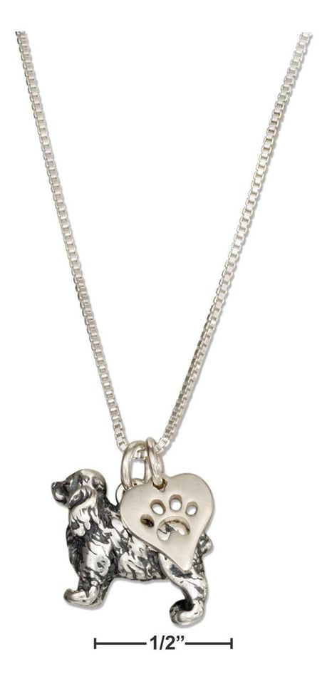 "Sterling Silver 18"" Cocker Spaniel Necklace with Dog Paw Print Heart Pendant"