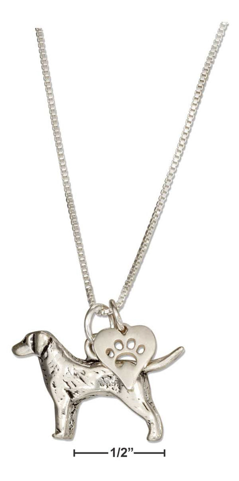 "Sterling Silver 18"" Labrador Retriever Necklace with Dog Paw Print Heart Pendant"