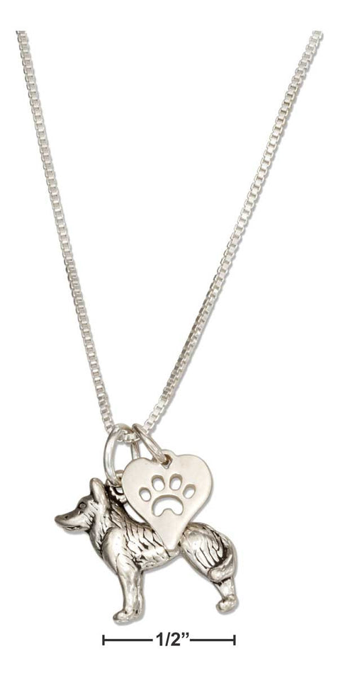 "Sterling Silver 18"" Siberian Husky Necklace with Dog Paw Print Heart Pendant"