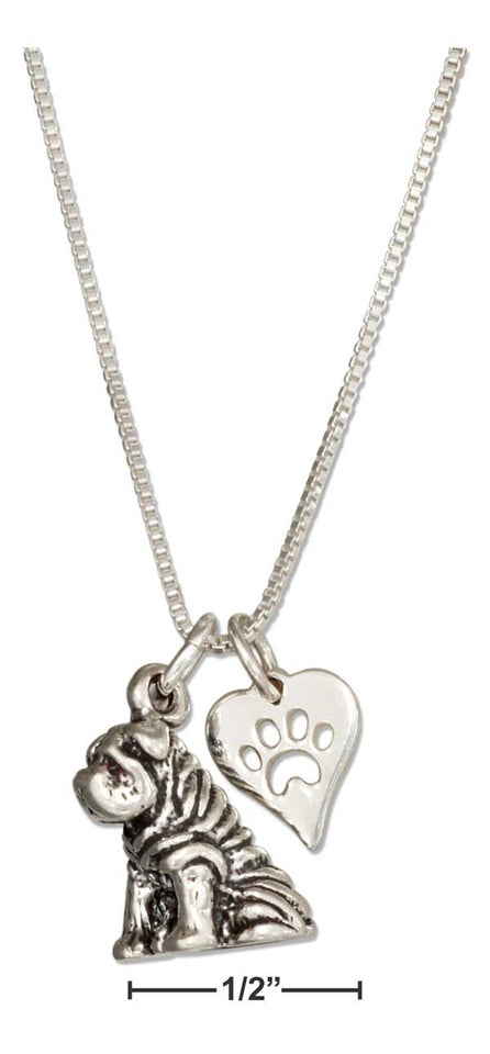 "Sterling Silver 18"" Sharpei Pendant Necklace with Dog Paw Print Heart"