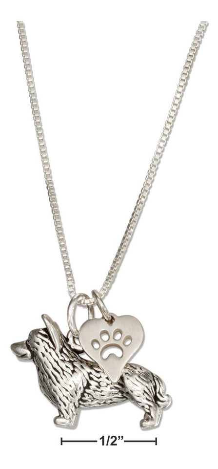"Sterling Silver 18"" Corgi Necklace with Dog Paw Print Heart Pendant"