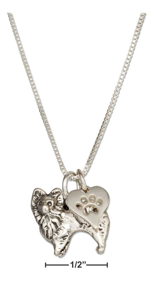 "Sterling Silver 18"" Pomeranian Pendant Necklace with Dog Paw Print Heart"