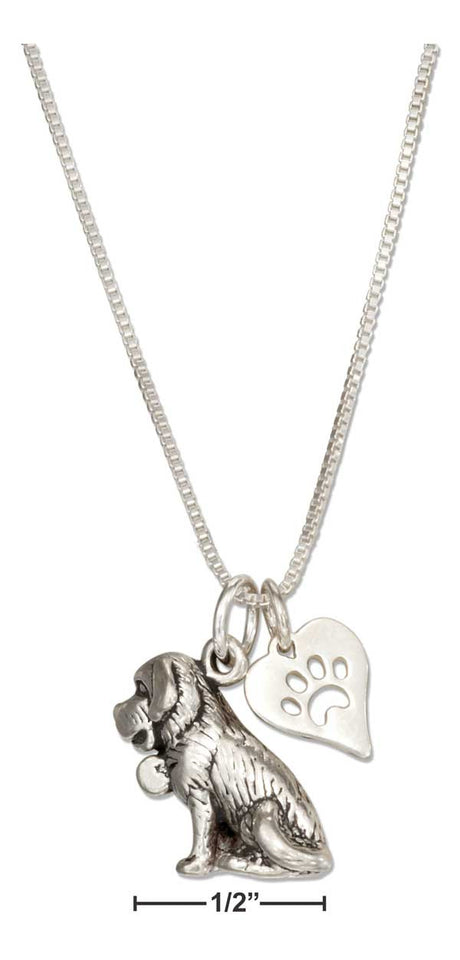 "Sterling Silver 18"" St Bernard Necklace with Dog Paw Print Heart Pendant"