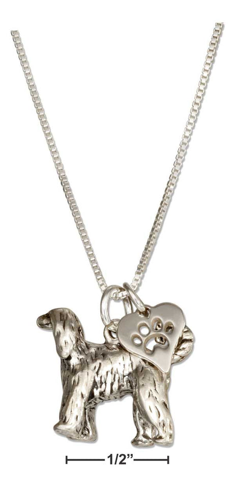 "Sterling Silver 18"" Afghan Hound Dog Pendant Necklace with Paw Print Heart"