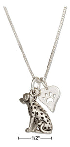 "Sterling Silver 18"" Dalmatian Pendant Necklace with Dog Paw Print Heart Charm"
