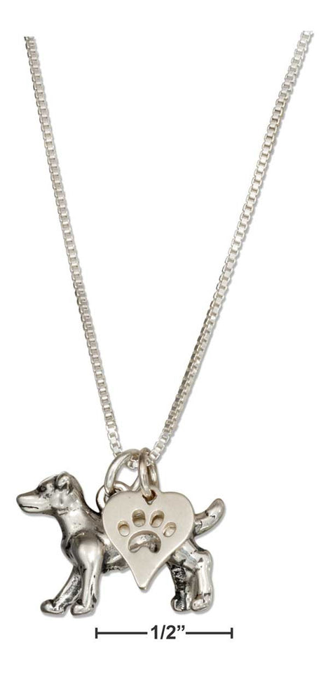 "Sterling Silver 18"" Jack Russell Terrier Necklace with Dog Paw Print Heart Pendant"