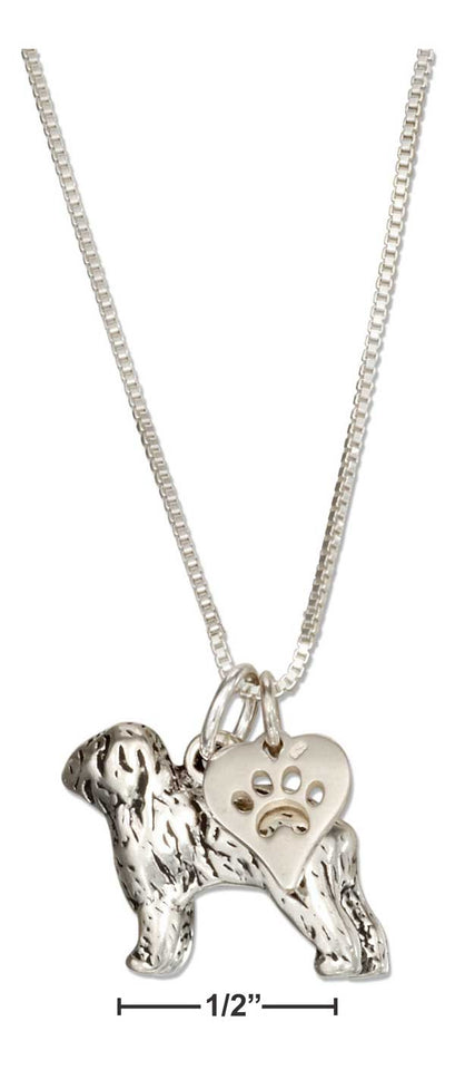 "Sterling Silver 18"" Old English Sheepdog Necklace with Dog Paw Print Heart Pendant"