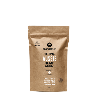Packet of 250g hemp seed in Kraft paper pouch