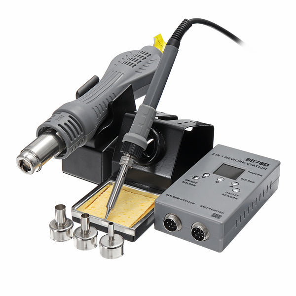 YAOGONG 8878D 2 In 1 SMD Rework Soldering Station Portable Microcomputer Hot Air Gun