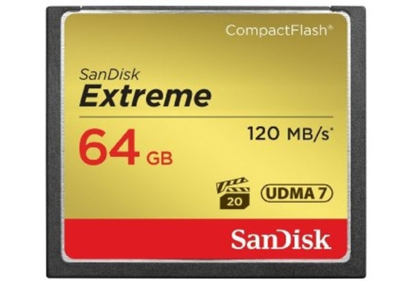 SanDisk 64GB Extreme Compact Flash - 120mb/s (SDCFXS-064G-X46)