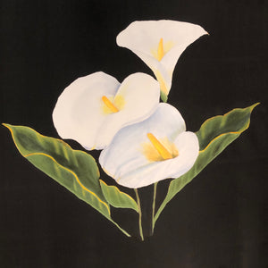 3 Calla Lilies on black silk painting