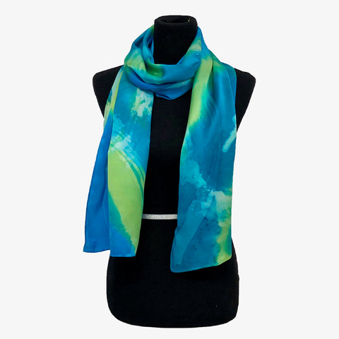 100% Silk Satin Handpainted Scarf -  Turquoise, Lime Green, White