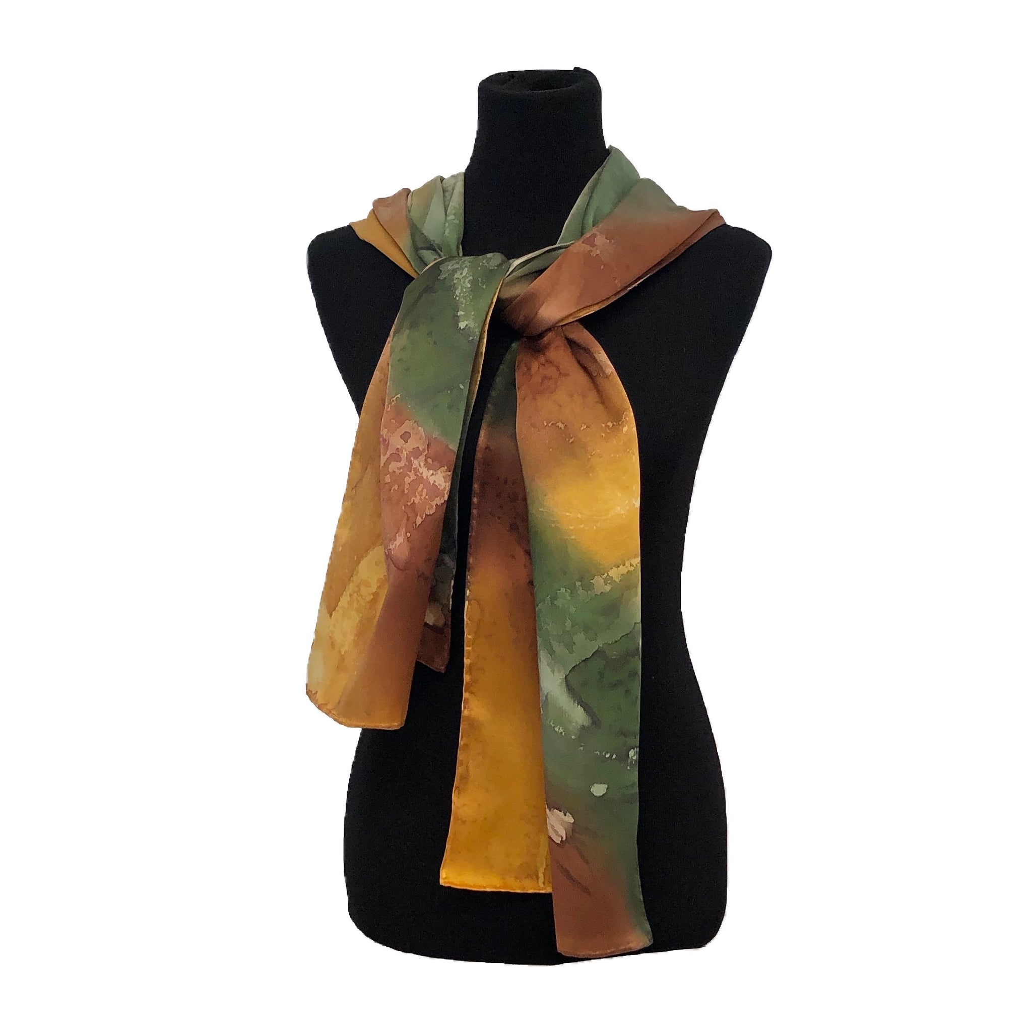 100% Silk Satin Handpainted Scarf - Gold, Brown Siena, and Olive Green