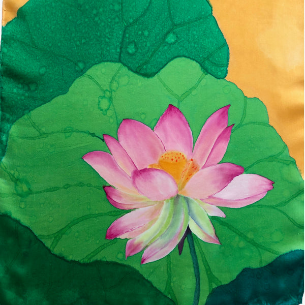 100% Silk Charmeuse Handpainted Scarf - Pink, Green, and Gold with Original Lotus Design