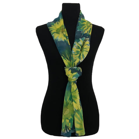 "100% Silk Satin Handpainted Scarf - ""Starry Nights"" in Dark Turquoise, Yellow, and Algae Green"
