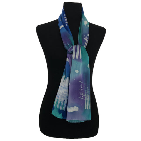 100% Silk Satin Handpainted Scarf - Funky Wax  on Blue, Magenta, and Veridian
