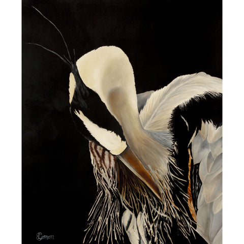 "Blue Heron's Got a Date - Adjusting His Feathers  33"" x 40"" painted on silk by Elizabeth Lemon"