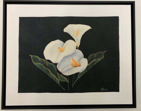 Three Calla Lilies on Black with frame by Elizabeth Lemon