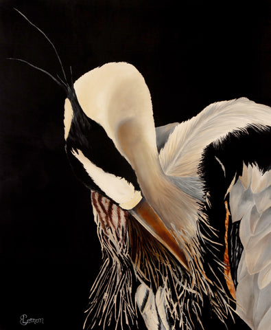 "Blue Heron's Got a Date - Adjusting His Feathers - 33"" x 40"""