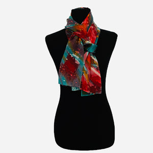 "100% Silk Satin Handpainted Scarf - ""Wax Play"" in Turquoise, Red, Orange, and Pink"