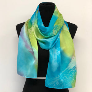 100% Silk Satin Handpainted Scarf - Turquoise, Lime Green, Touch Of Scarlet