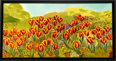 "Tulips Among  Wildflowers - 32"" x 17"""