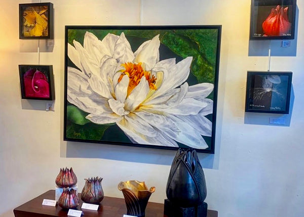 "Silk Painting of Water Lily by Elizabeth Lemon 41"" x 31"" framed in Aritsts@Work Studio & Gallery"