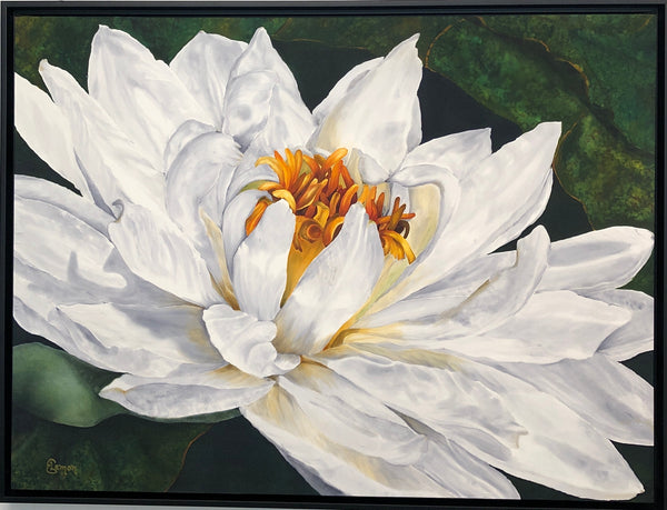 "Silk Painting of Water Lily by Elizabeth Lemon 41"" x 31"" framed"