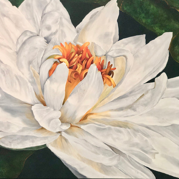 "Close up Silk Painting of Water Lily by Elizabeth Lemon 41"" x 31"" framed"