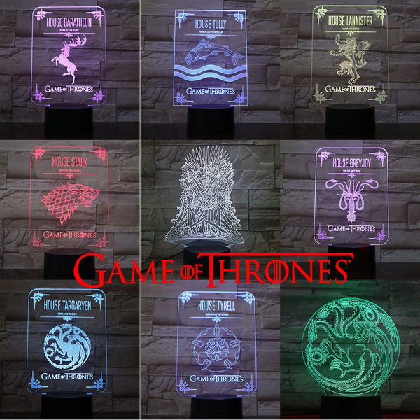 VCity 3D Night Light Led Bulb Game of Thrones Fans Collection Gifts Souvenir Home Decor Bedside Table Lamp LED Lighting RGBMulti