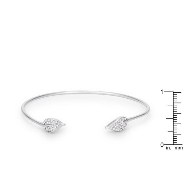 Trendy Rhodium Bracelet with Clear Cubic Zirconia Accents