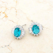 Chrisalee 3.3ct Aqua CZ Rhodium Classic Stud Earrings