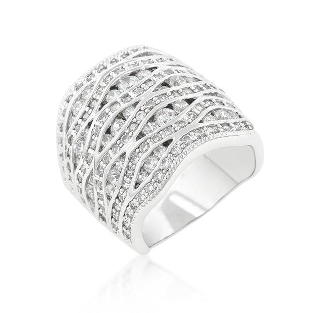 Cubic Zirconia Pave Abstract Ring