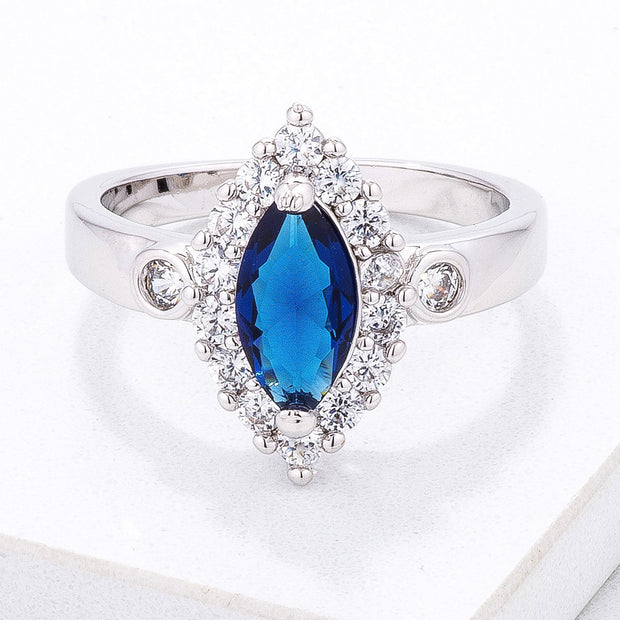 Stunning 1 Ct. Blue Marquise Halo Ring