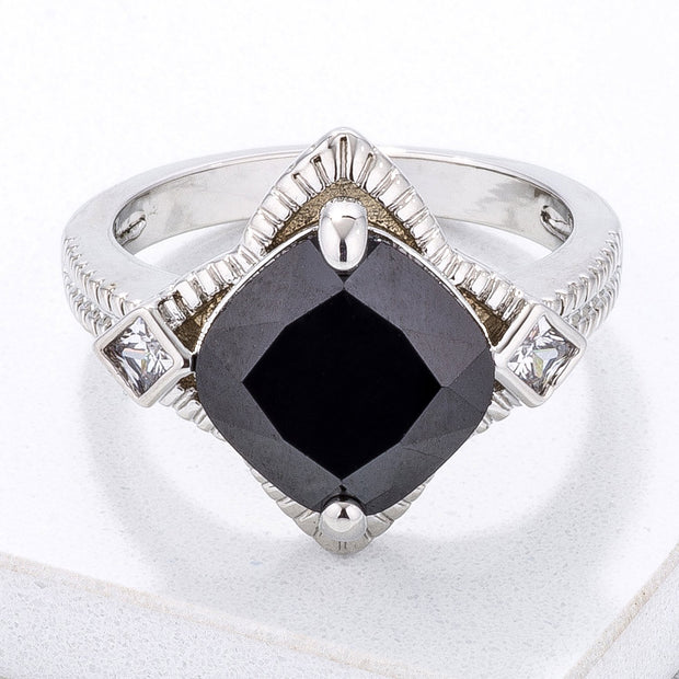 Modern Edgy Black CZ Cocktail Ring