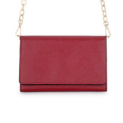 Carly Burgundy Leather Purse Clutch With Gold Chain Crossbody