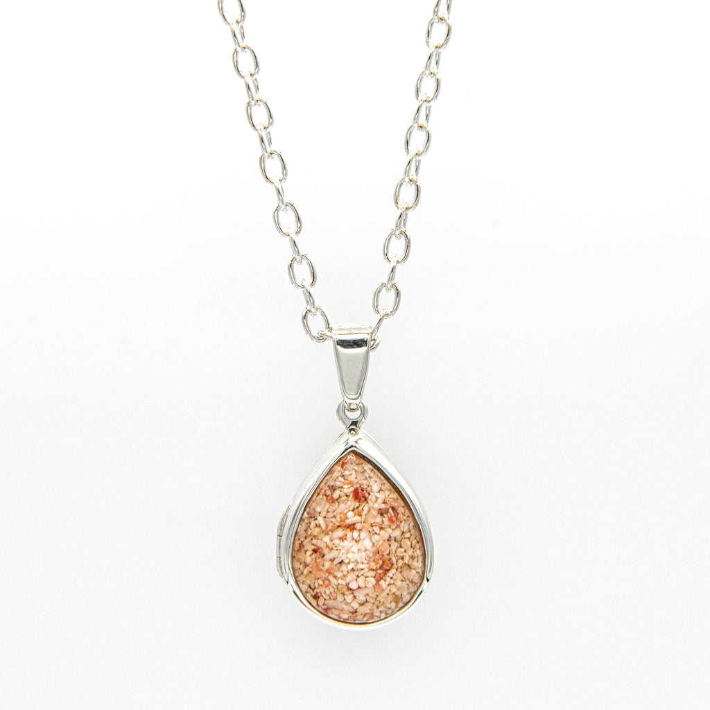 Silver Teardrop Locket on cable chain - RL202