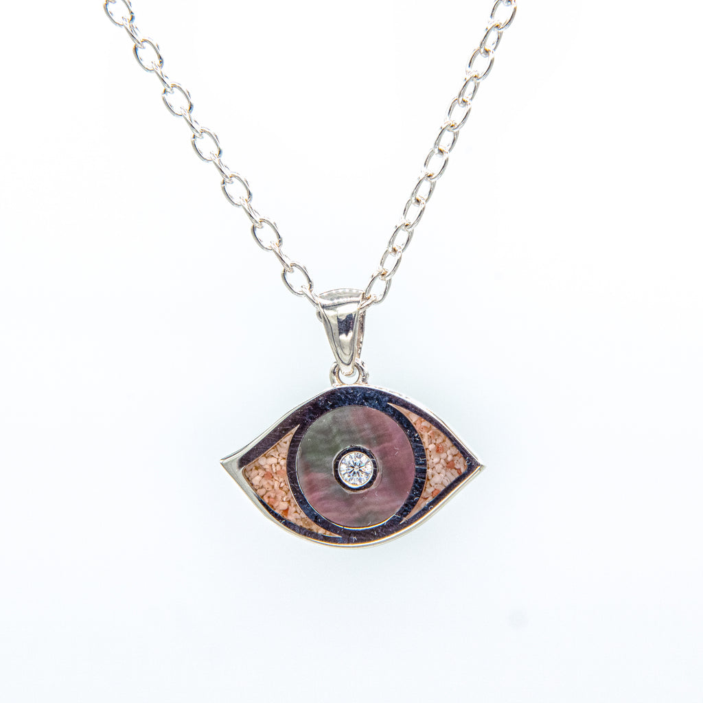 Silver evil eye cubic zirconia black mother of pearl pendant on cable chain - TN547BKMOP