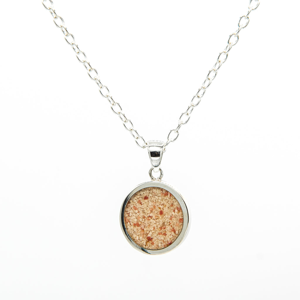 Round Flat Pendant on Cable Chain, Sterling Silver - TN557