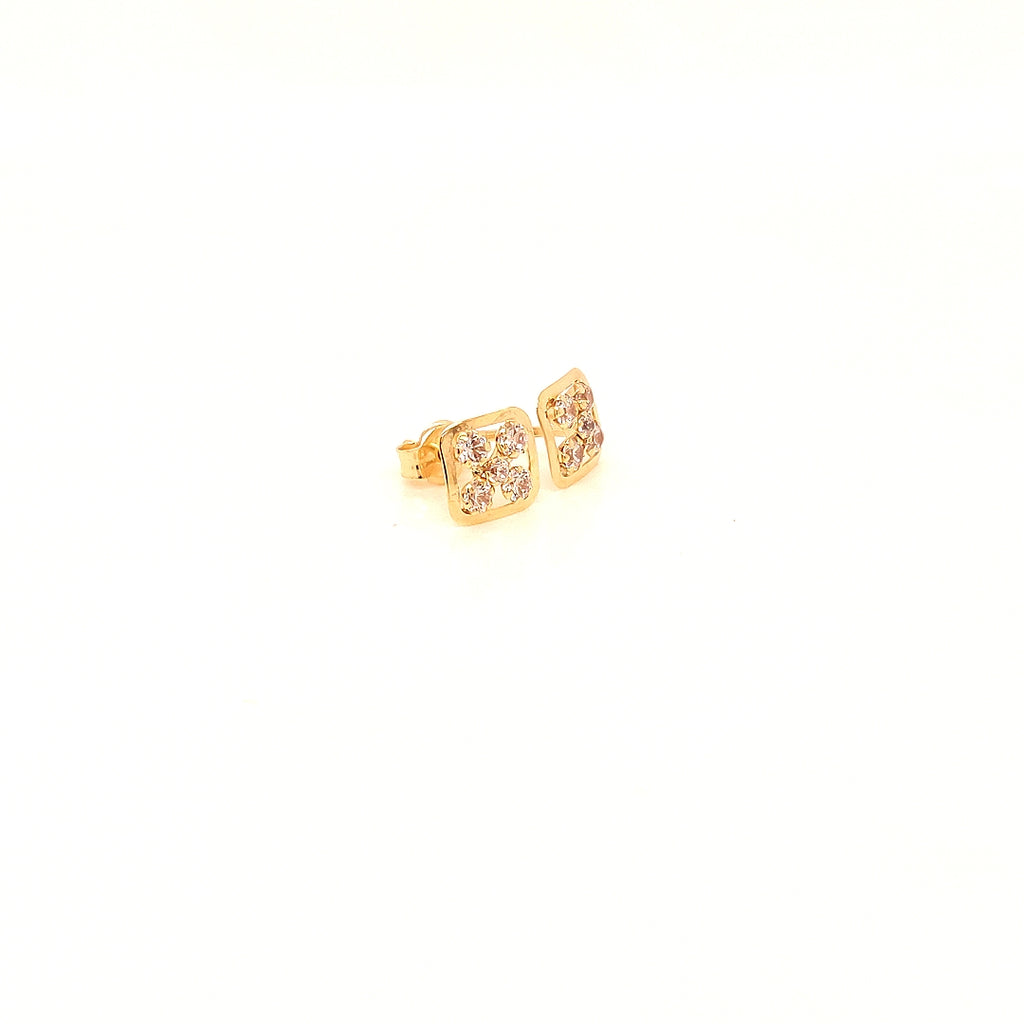 Crisson Original 14 Karat Yellow Gold Cubic Zirconia Stud Earrings - HGS3937CZ
