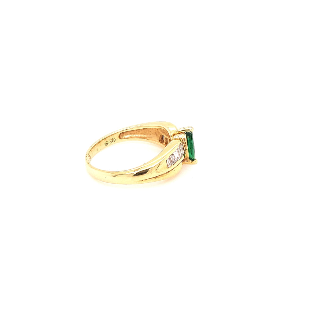 18 Karat Gold Ring set with Marquis Cut Emerald & Diamonds - BD2318