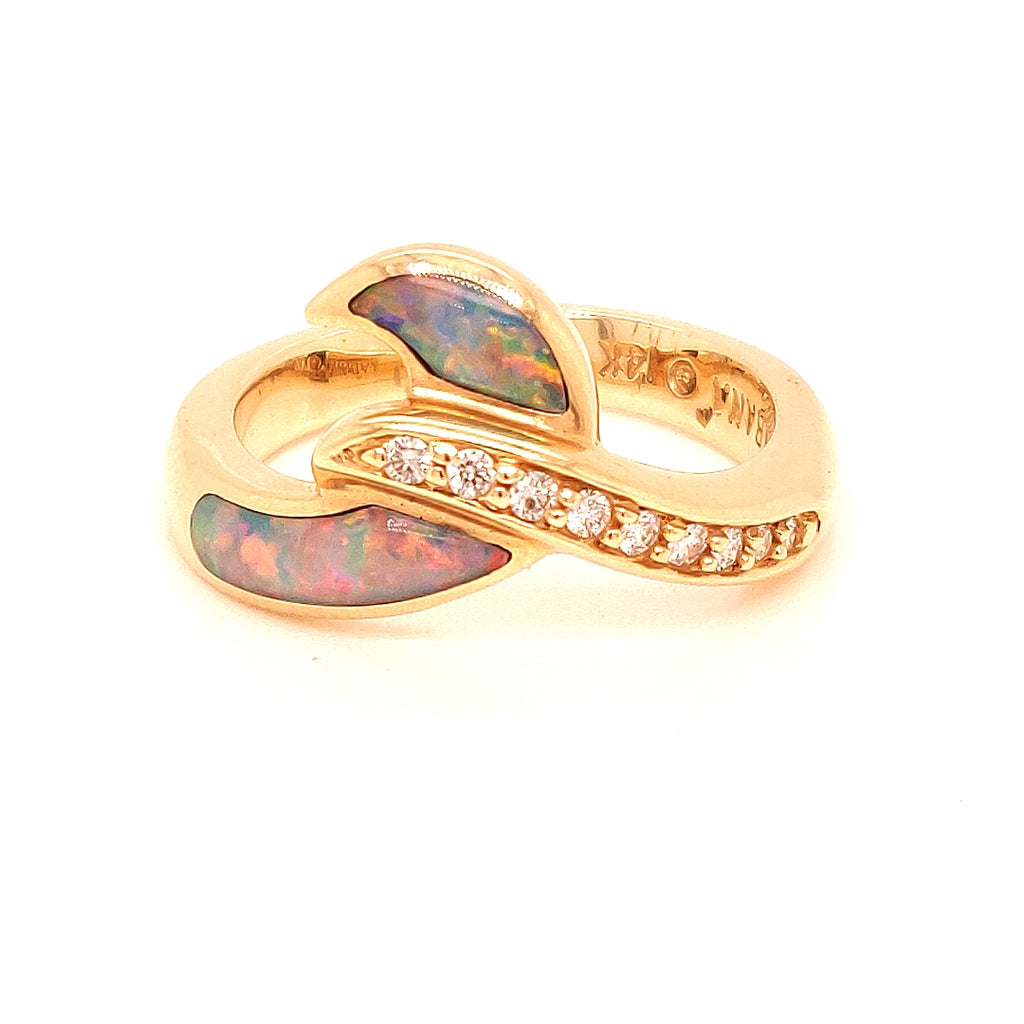 Kabana 14 Karat Gold Ring Inlaid with 'Swirling' Opal & Diamonds -BD599