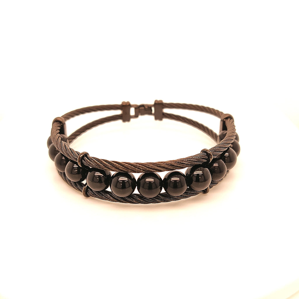 Alor Precipitation Hardened Stainless Steel Bracelet with Onyx Beads - TB2469ON