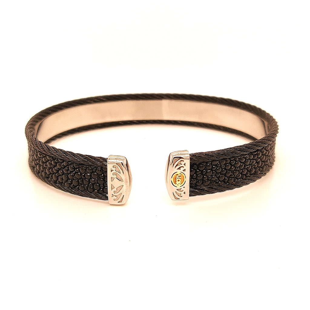 Alor Flexible Stainless Steel & Stingray Bracelet - TB2472BLK