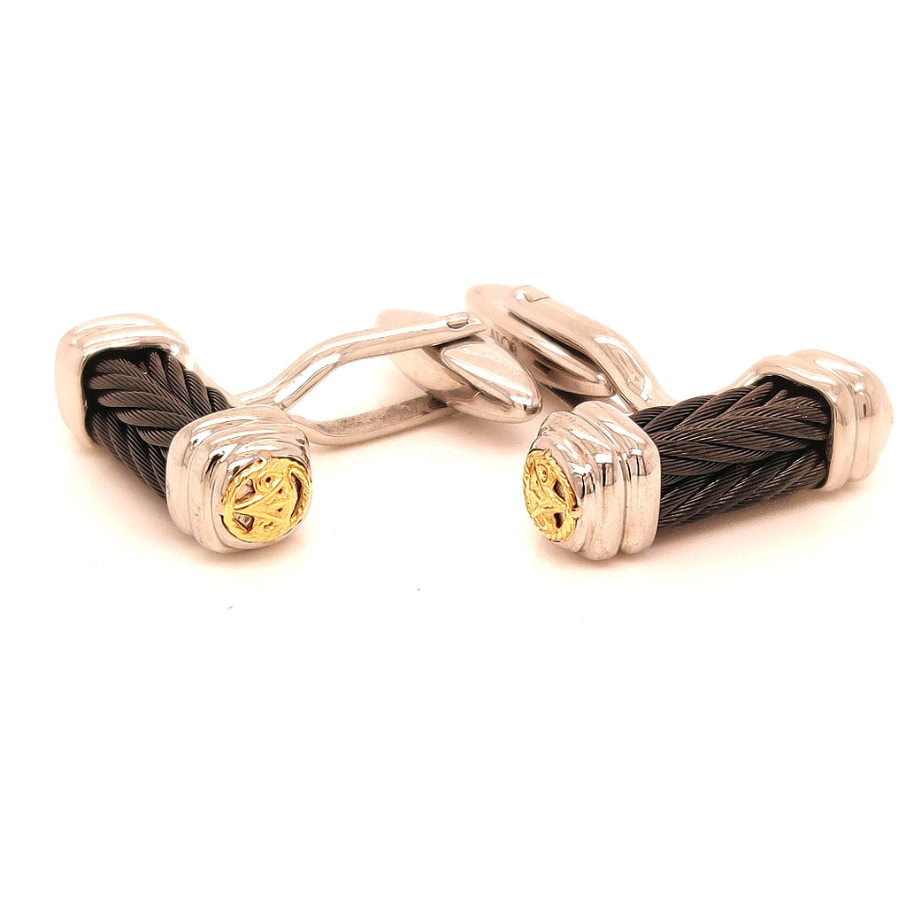 Alor Stainless Steel & 18 Karat Gold Black Cable Cufflinks - M501