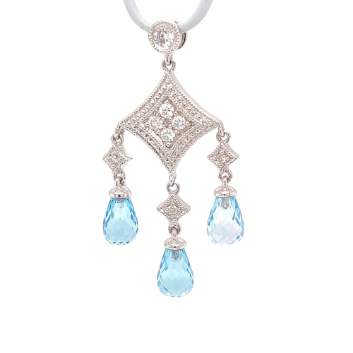 14 Karat White Gold 3 Stone 'Chandelier' Pendant with Topaz & Diamonds - GP1223TPWH