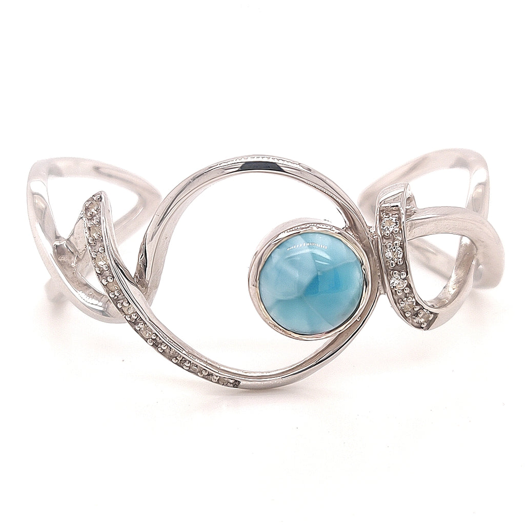 Sterling Silver Marah Lago Larimar Bracelet with White Topaz - TB1997WH TP