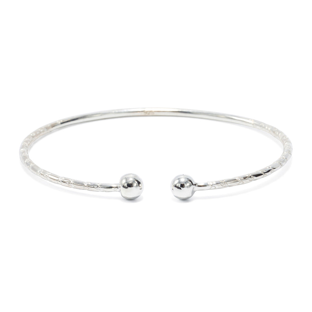 Ball Head Child's Bangle, 1.9mm hand etched wire (pair) - TB398CSN